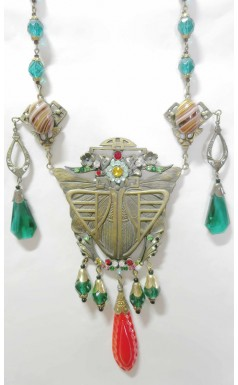 1930s Vintage Antique Egyptian Moth Old Czech Glass Necklace