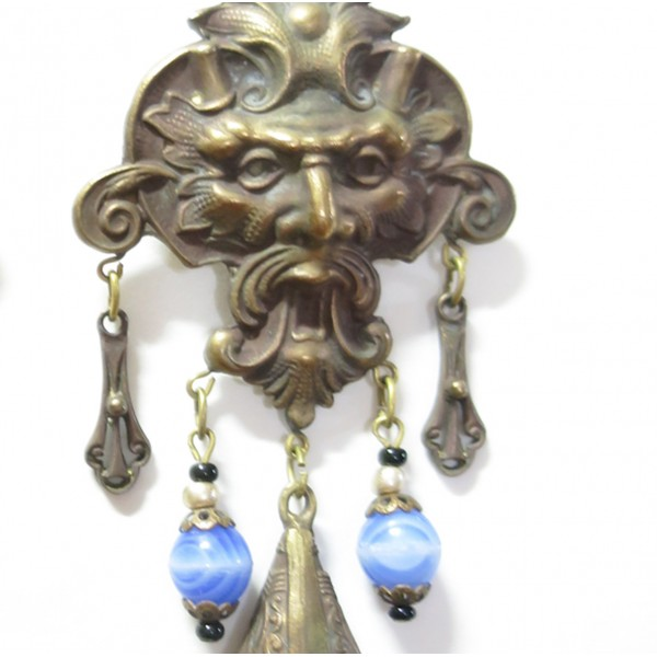 1920 Blue Lion Head Czech Glass Earrings