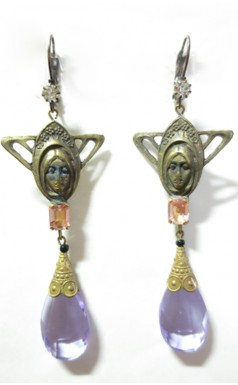 1920s Art Deco Art Nouveau Purple Woman Head Earrings